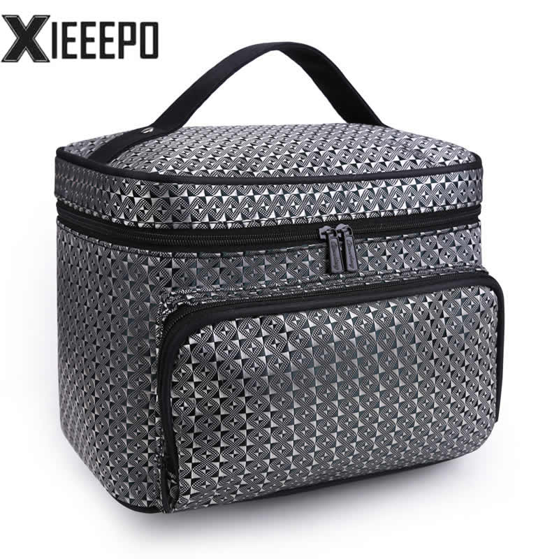 Women Cosmetic Bag Travel Lattice Pattern Makeup Case Zipper Make Up Bags Organizer Storage Pouch Toiletry Kit Wash Beauty Bags ladsoul 2018 women multifunction makeup organizer bag cosmetic bags large travel storage make up wash lm2136 g