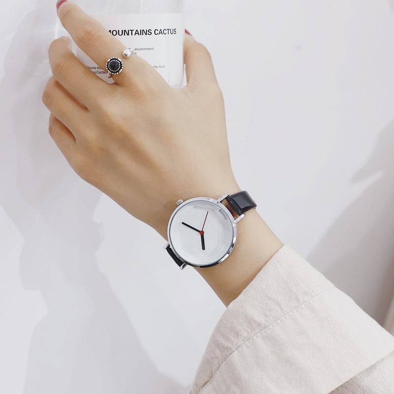 Ulzzang Fashion Women Watches No Scale Big Dial Ladies Watch Female Quartz Clock Simple Leather Lady Wristwatches Relojes Mujer цена и фото