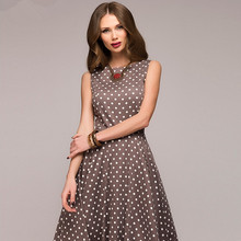 Dress 2018 Summer New Sleeveless O-neck Women Elegant Thin Dot Printing  Casual Female vestidos