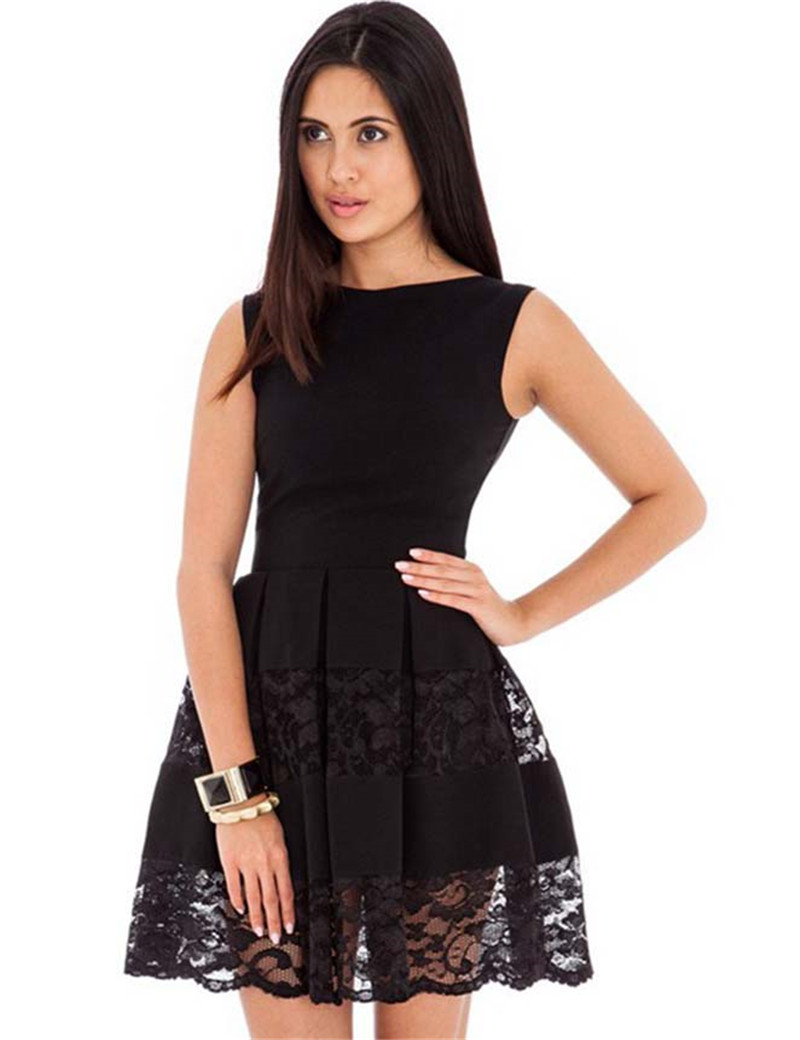 R80049 O Neck Sleeveless Sweet Skater Dress Black Lace Mini Women Dress 2016 New Style Super