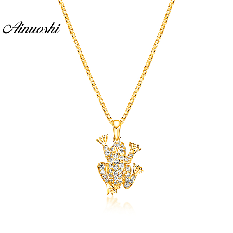 все цены на AINUOSHI 10K Solid Yellow Gold Pendant Cute Frog Pendant SONA Diamond Women Men Children Jewelry Little Animal Separate Pendant онлайн