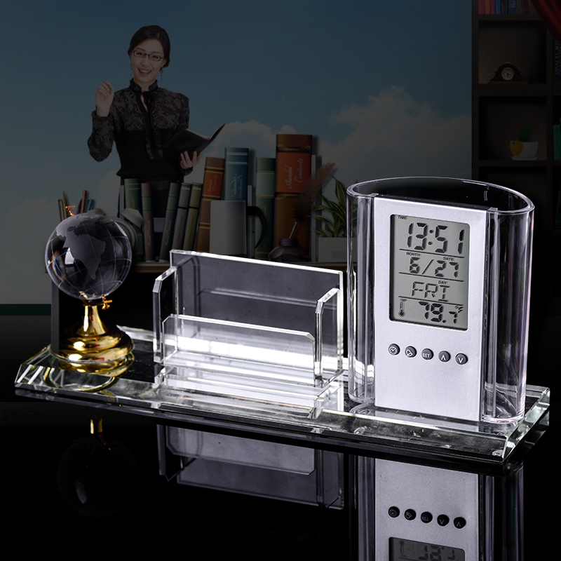 New Modern Crystal Glass Fantastic Pen Holder with Globe Calendar Clock Temperature Office Home Decoration Gift
