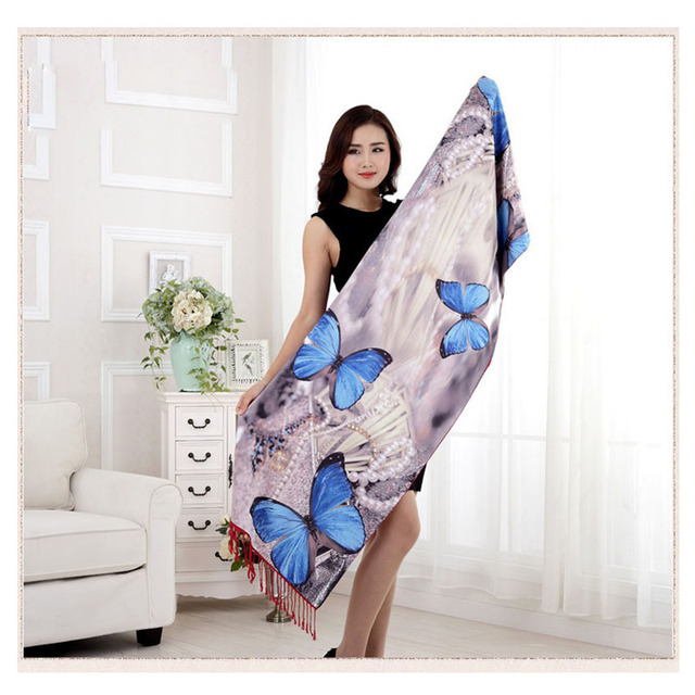 2016 New Autumn Women's Silk Scarf Shawl Butterfly Digital Printing Female Long Shawls and Scarves Wraps Pre-design 175*55cm
