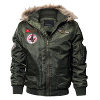 MORUANCLE Mens Winter Warm Bomber Jackets Fleece Lined Thick Thermal Flight Jackets And Coats With Fur Hood Plus Size M 4XL