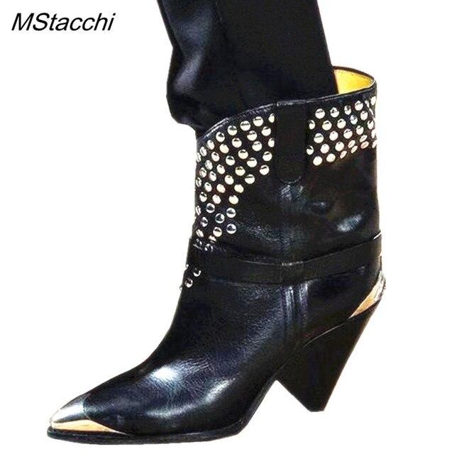 MStacchi 2019 세련된 가죽 발목 부츠 여성 금속 지적 발가락 리벳 술 이상한 하이힐 부츠 여성 패션 서양 부츠