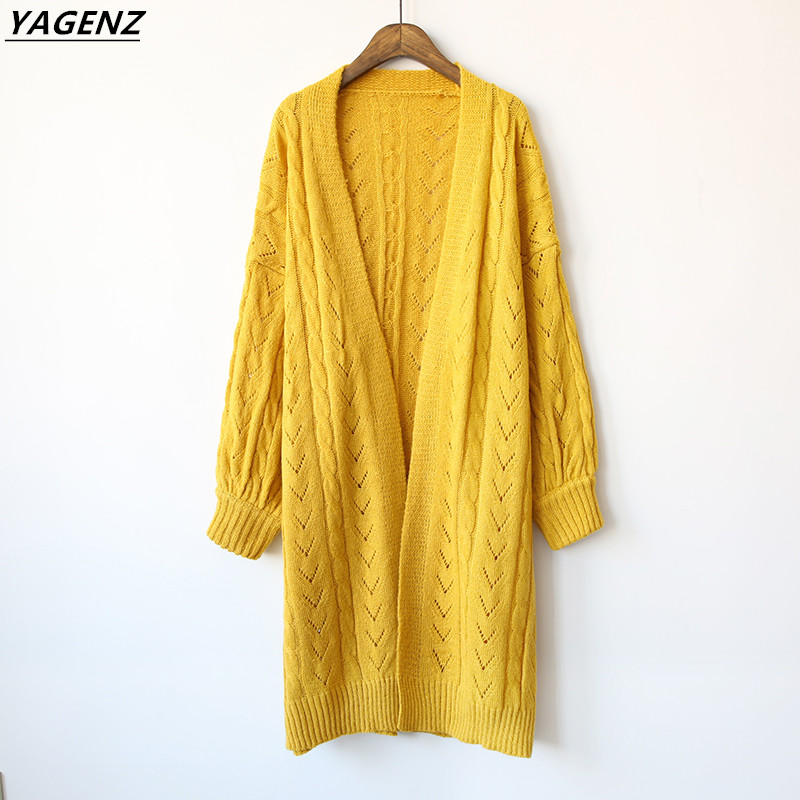 Sweater Knit Cardigan Thin Outerwear 2017 New Autumn Fashion Solid Color Medium Length Comfortable Loose Casual Tops YAGENZ A81