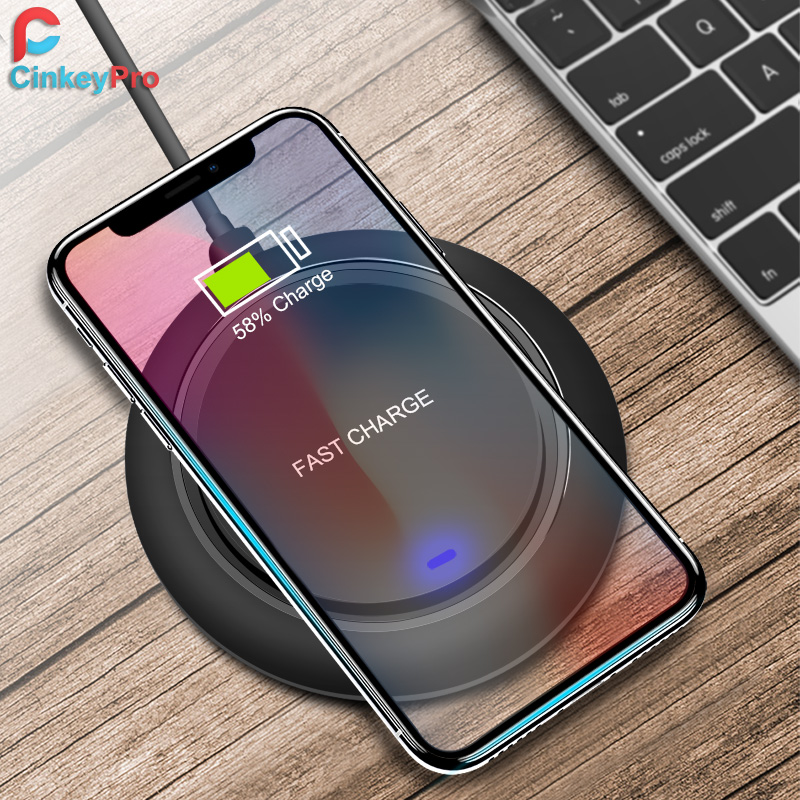 CinkeyPro QI Wireless Charger Charging Pad 5V/1A Acrylic for iPhone 8 10 X XS Samsung S8 X