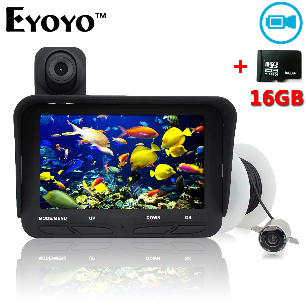 Eyoyo 20m Professional Fish Finder DVR Video Record 6 Infrared LED Underwater Fishing Camera+Overwater Camera+Free 16GB TF Card eyoyo 20m professional night vision underwater fishing camera fish finder dvr video infrared led overwater camera free 32gb card href
