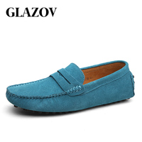 GLAZOV Fashion Men Loafers Men's Casual Shoes Suede Leather Moccasins Masculino Breathable Slip on Boat Shoe Chaussures Hommes 1