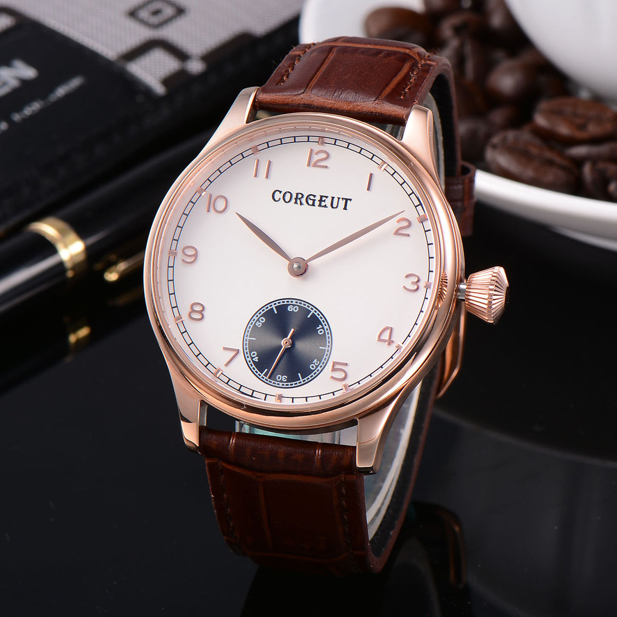 Corgeut 44mm Fashion Rose Gold Coated Case Relojes, Brown Leather Strap Wrist Watches White Dial 6498 Hand Winding Men's Watch