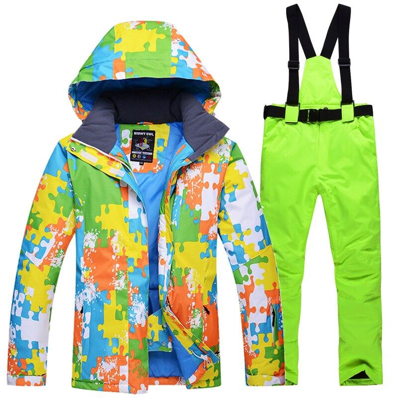 2018 nouveau costume de Ski d'hiver hommes ensemble coupe-vent imperméable à l'eau chaud Ski snowboard costumes ensemble mâle extérieur chaud veste de Ski + pantalon - 3