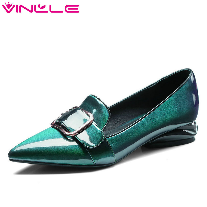 VINLLE 2018 Spring Women Pumps Genuine Patent Leather Slip On Square High Heel Pointed Toe Ladies Wedding Shoes Size 34-42 цена