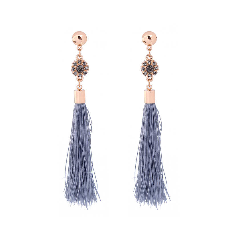 Kiss Me Pink & Abu-abu Fringe Anting-Anting Panjang Merek Yang Unik Kristal Bunga Drop Anting-Anting untuk Wanita Fashion Perhiasan