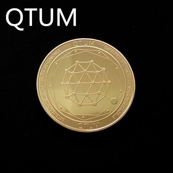 Позолоченная Виртуальная металлическая памятная монета биткоины сувенир искусство коллекционный бизнес подарок праздничное украшение подарок античный Im - Цвет: QTUM