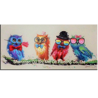 Decorative Canvas Oil Painting Beautiful Cute Night Owl Wall Art Handmade Modern Animal Party Picture Home
