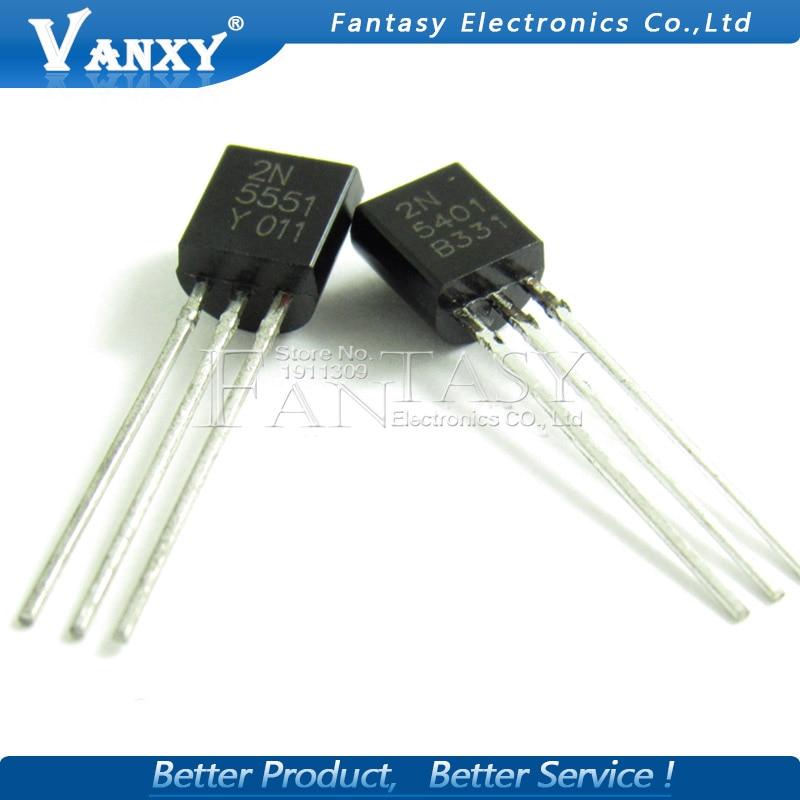 100PCS 2N5551 2N5401 5551 5401 TO-92 (50PCS* 2N5401+50PCS* 2N5551 ) TO92 Bipolar Transistors - BJT PNP Gen Pr Amp