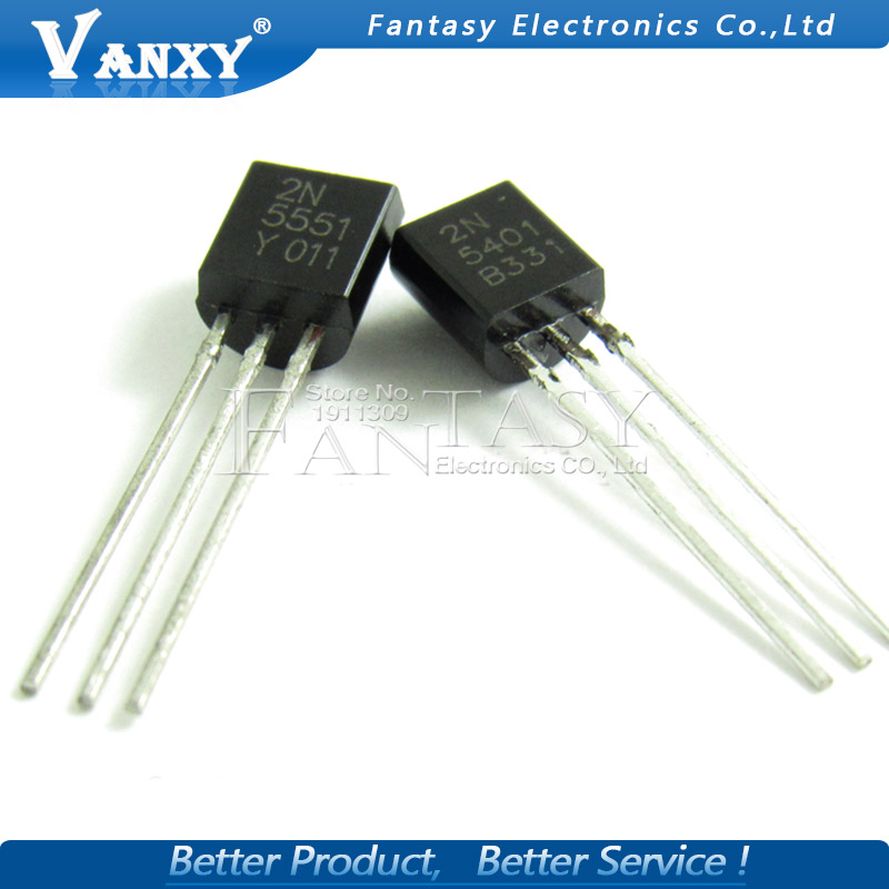 100PCS 2N5551 2N5401 5551 5401 TO-92 (50PCS* 2N5401+50PCS* 2N5551 ) TO92 Bipolar Transistors - BJT PNP Gen Pr Amp100PCS 2N5551 2N5401 5551 5401 TO-92 (50PCS* 2N5401+50PCS* 2N5551 ) TO92 Bipolar Transistors - BJT PNP Gen Pr Amp