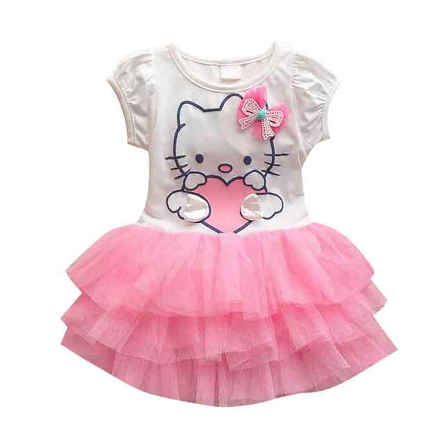 1d338d95e Cool Design Hello Kitty Dress Princess Anna Elsa Dress Girl Baby Elsa  Costume Kids Princess Vestidos