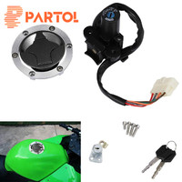 Partol Motorcycle Ignition Switch Lock Fuel Gas Cap Cover Seat Lock Keys Set for Kawasaki Ninja 250R 300 EX250 300
