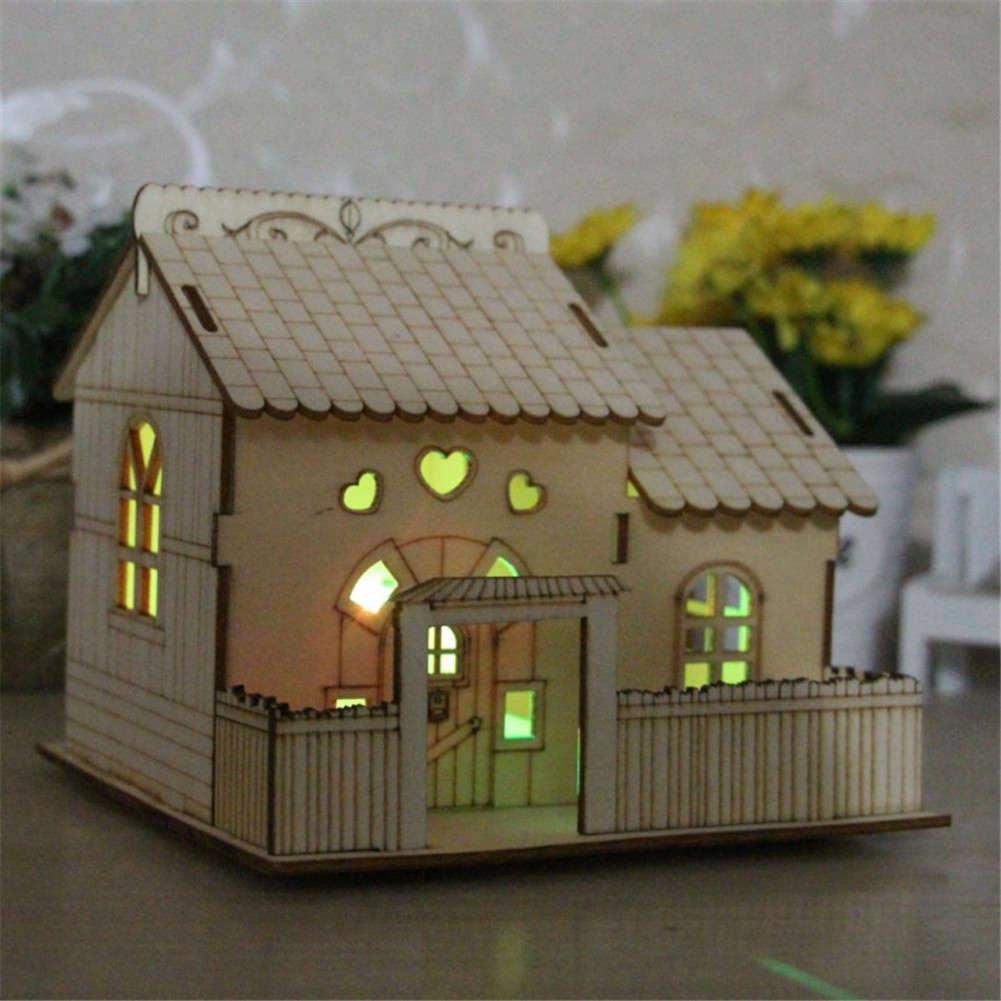 Multi-functional Wooden Villa Night Light Piggy Bank Home Decoration Money Box #2