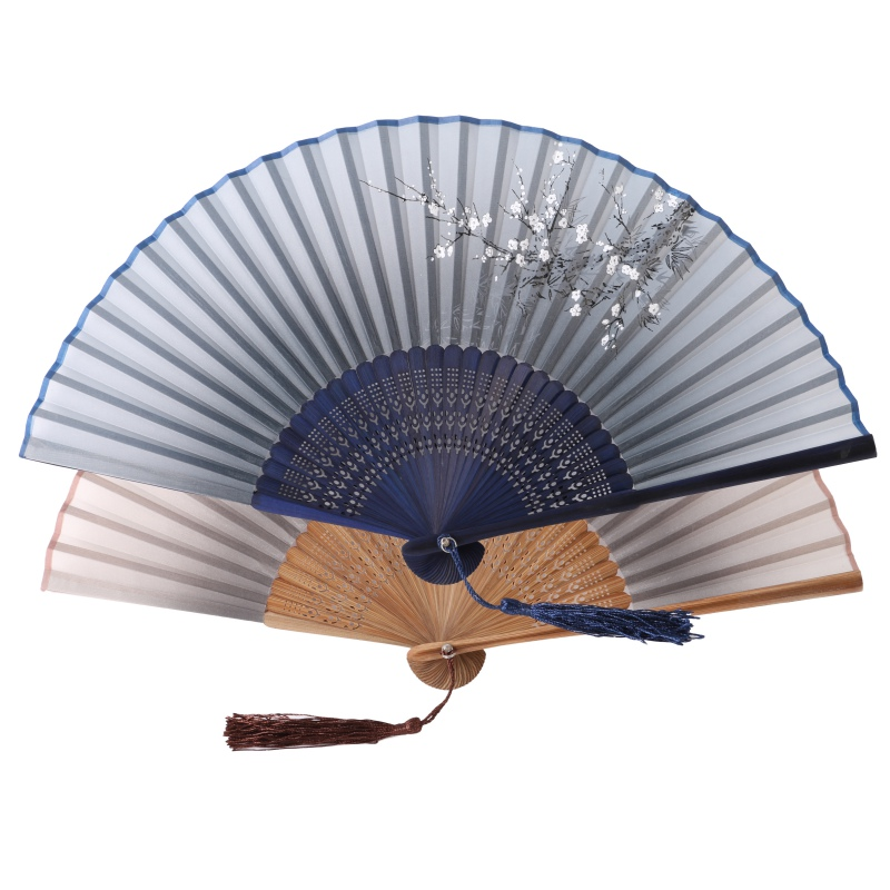 Classic Bamboo Silk Blend Japanese Chinese Handmade Pocket Fan Folding Hand Held Fan Han ...