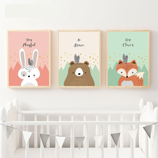 Tribe Woodland Animal Art Canvas Poster Rabbit Fox Nursery Print Painting Cartoon Picture Baby Kid Bedroom