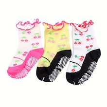 Hot Kids Baby Girls Cotton Warm Cherry Pattern Ankle Socks Non-slip Socks 0-3 Years Hot!