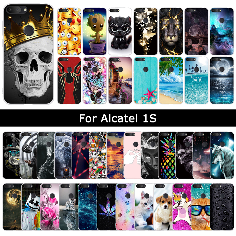Case For Alcatel 1S 1 S 2019 Cartoon Cat Cute Patterned Soft Silicone Back Cover For Alcatels Protective Phone Shell Cases Coque beyblade set