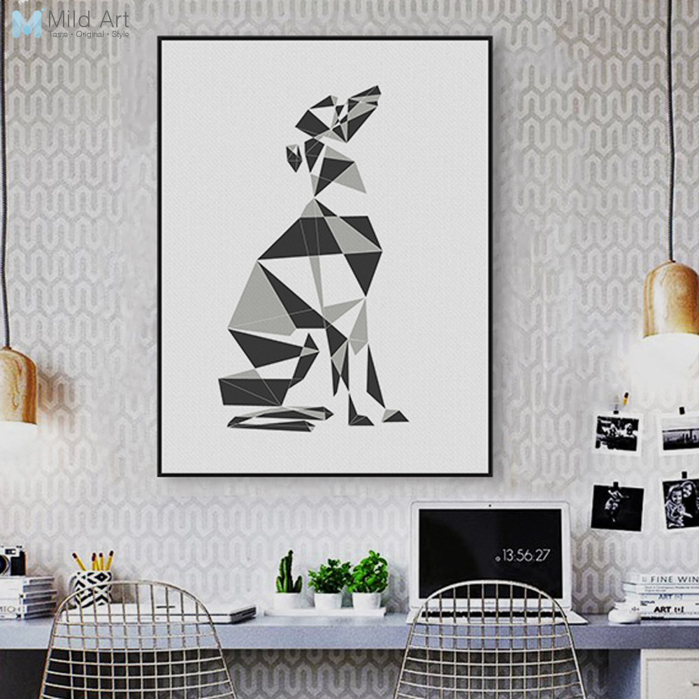 Us 3 46 45 Off Abstract Dog Geometric Greyhound Canvas Large Poster Prints Wall Pictures Nordic Living Room Home Decor Paintings Custom Gifts In