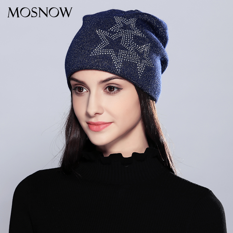MOSNOW Wool Women Hats For Girls Vogue Five-Pointed Stars 2017 Fashion Autumn Winter Knitted Hat Female Skullies Beanies  #MZ716 fashion red band embellished five pointed stars pattern jazz hat for kids