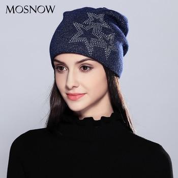 21d725c26 MOSNOW de lana de las mujeres sombreros para niñas de moda estrellas de  cinco puntas 2018 moda Otoño Invierno de punto sombrero mujer sombrero  tejido   ...