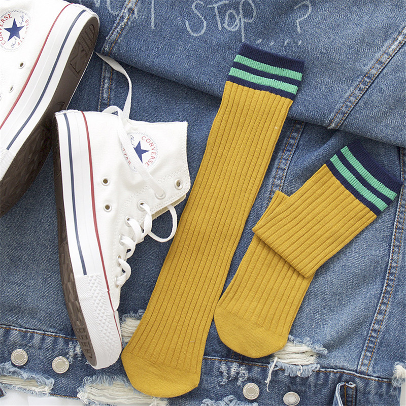 Hot Sale Fashion 1 Pair Unisex Stripe Women Sock Breathable Cotton Skateboard 6 Color Female Men Comfortable Socks