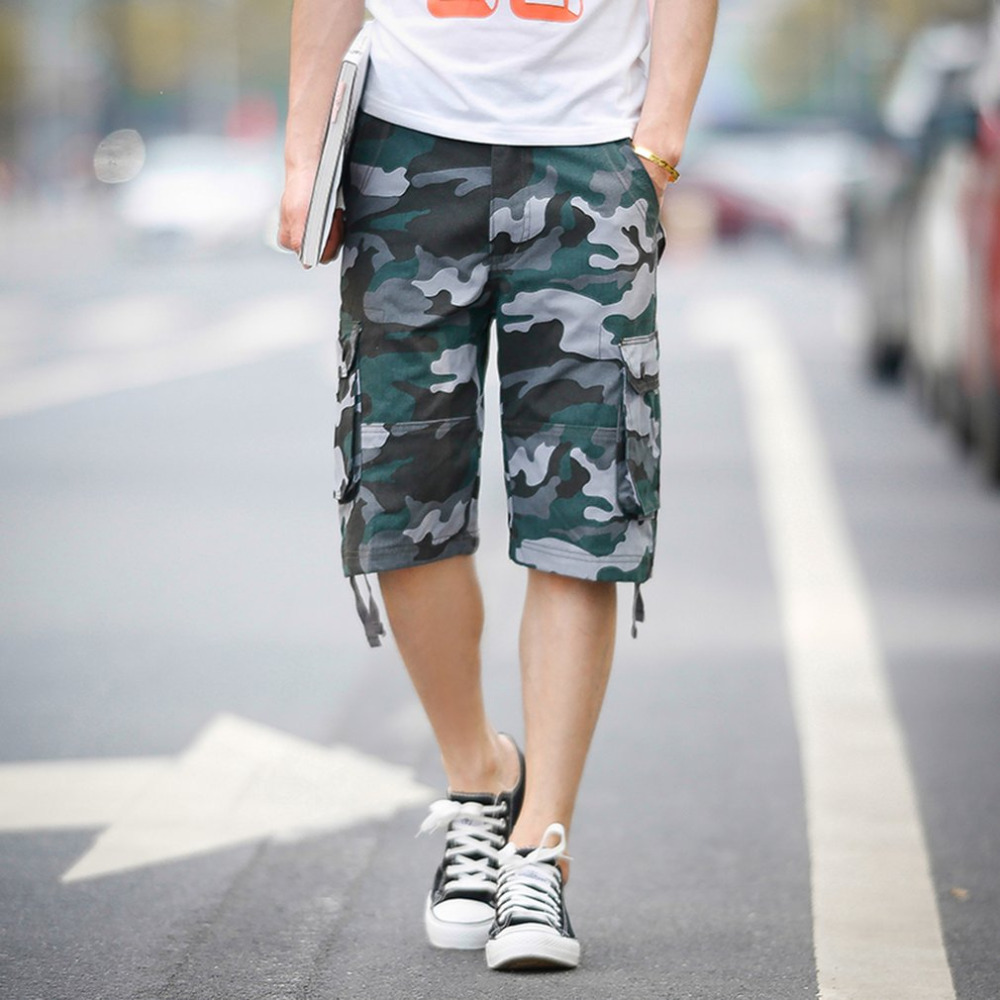 2018 Summer New Casual Mens Camouflage Shorts Summer Cotton Blue Camouflage Shorts Cargo Trousers Multi-Pockets Short Pants