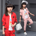 Big Girls Sports Suits Cotton Striped Girls Clothing Sets Autumn Teenage Girls Sports Wear Children Tracksuits Baseball Uniform