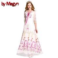 2017 Fashion Runway delle Donne Maxi Dress Elegante A Maniche Lunghe In Tulle Garza Fiore Ricamo Floreale Bianco Vintage Abito Lungo LD491