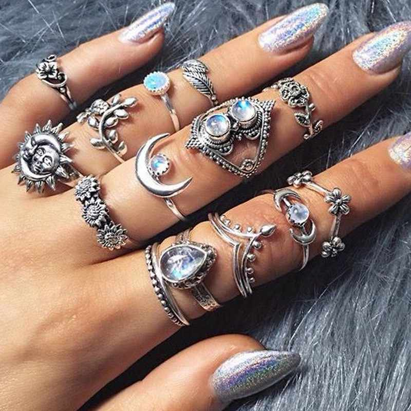 14Pc/set Vintage Gold Color Knuckle Ring Water Drop Flower Sunflower Moon Sun Crystal Vintage Boho Joint Ring for Women Jewelry