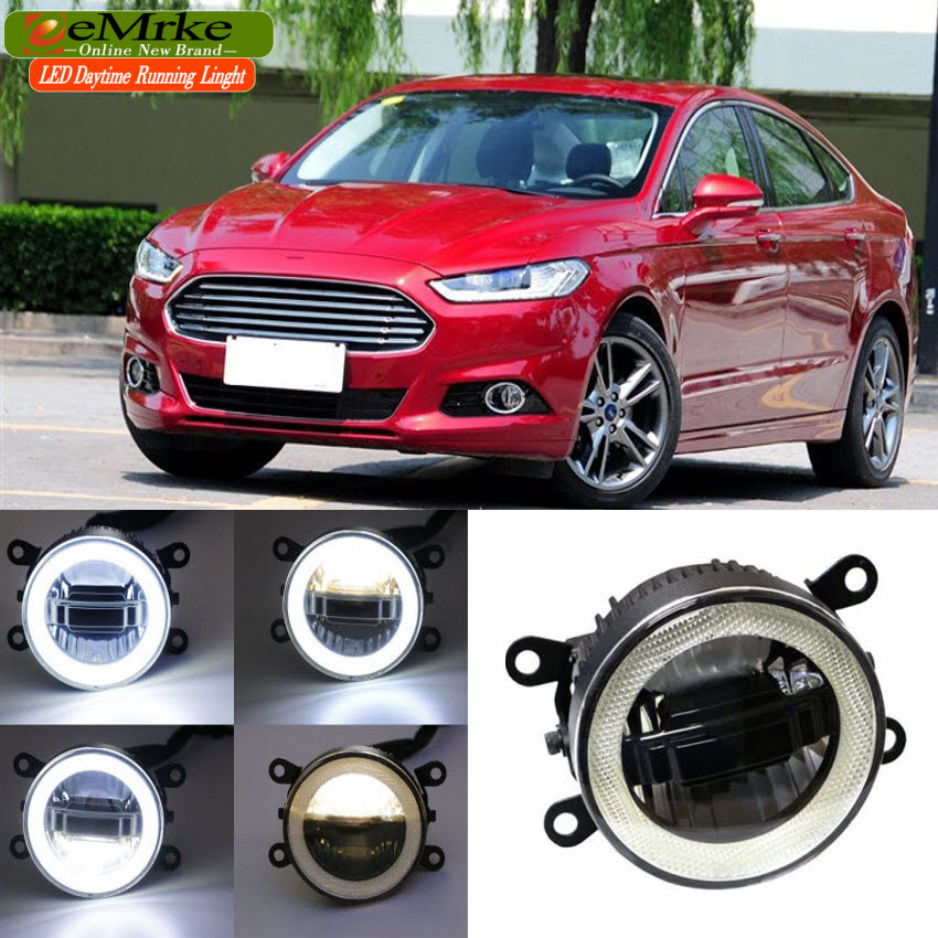 eeMrke For Ford Mondeo MK4 2013-2016 3 in 1 LED DRL Angel Eye Fog Lamp Car Styling High Power Daytime Running Lights Accessory eemrke for toyota vios yaris belta 2007 2013 led angel eye drl daytime running light halogen yellow h11 55w fog lights