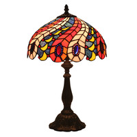 LukLoy European Style Retro Peacock Glass Table Lamp Luxury Bedroom Bedside Bar Cafe Hotel Villa Western Restaurant Table Lamp