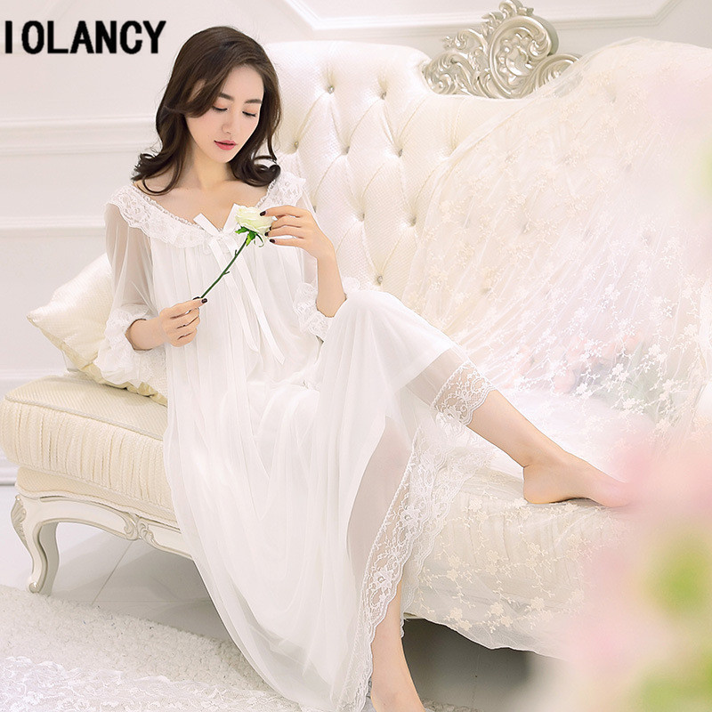 Maternity Clothes New Spring Women Palace Vintage Lace Nightgown Pajamas Beautiful Goddess Modal Dress for Pregnant YFQ148Maternity Clothes New Spring Women Palace Vintage Lace Nightgown Pajamas Beautiful Goddess Modal Dress for Pregnant YFQ148