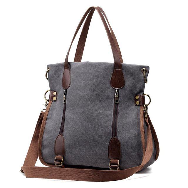 New Women S Canvas Tote Bag Top Handle Bags Crossbody Messenger Shoulder Handbag Grey