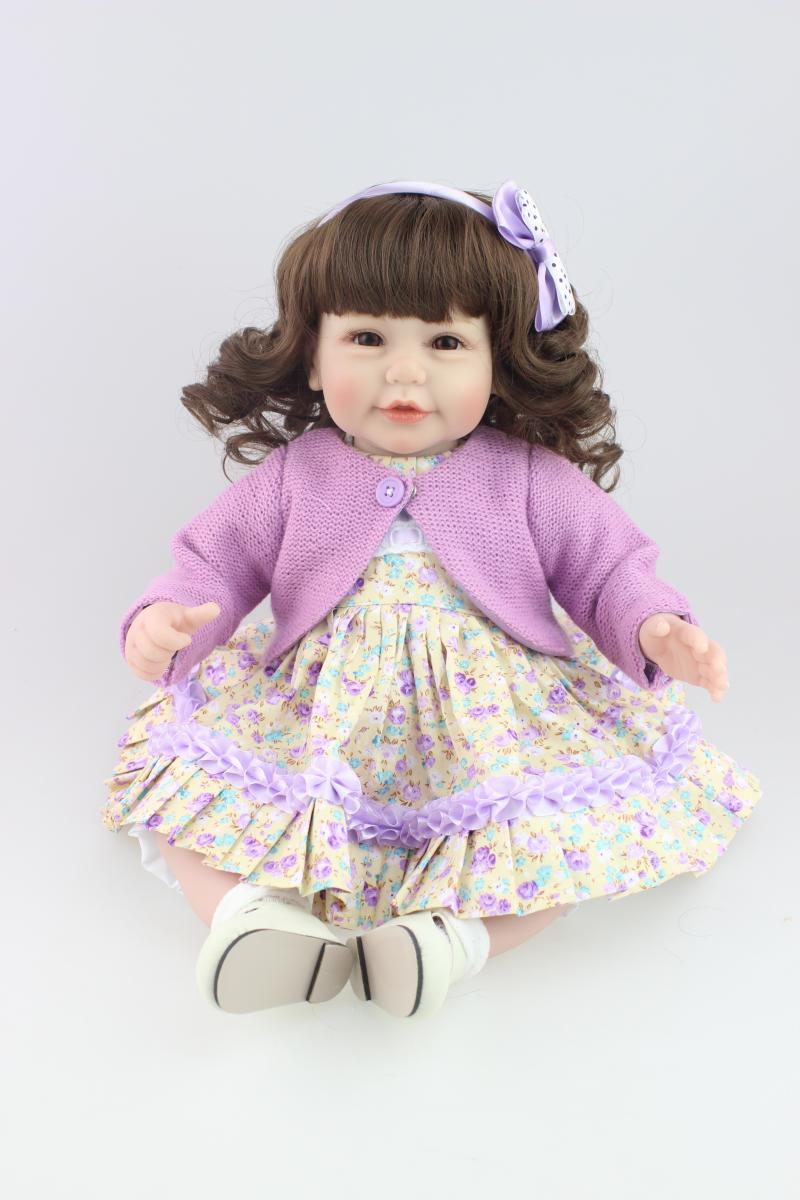 New 52cm baby reborn dolls for girls purples dress Curly hair realistic bonecas toys for childrenNew 52cm baby reborn dolls for girls purples dress Curly hair realistic bonecas toys for children