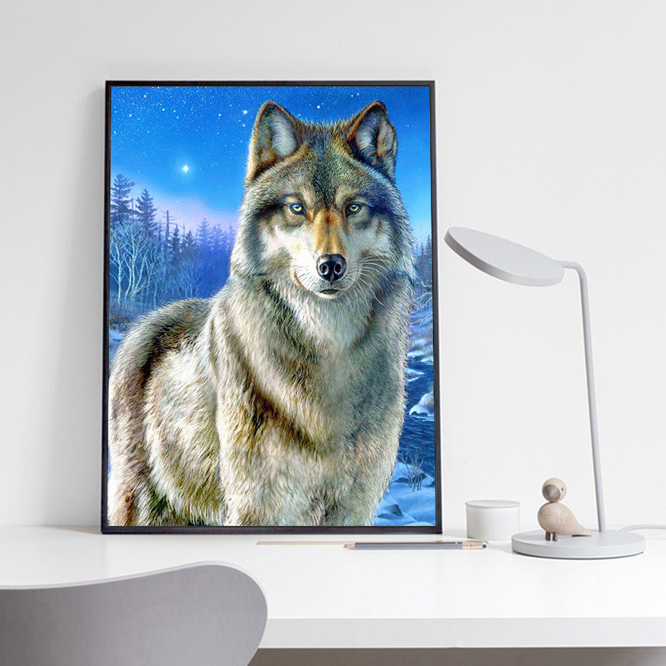 AZQSD Diamond Painting Wolf Animal Picture Of Rhinestones Diamond Embroidery Winter Home Decor Full Drill Cross Stitch Kit in Diamond Painting Cross Stitch from Home Garden