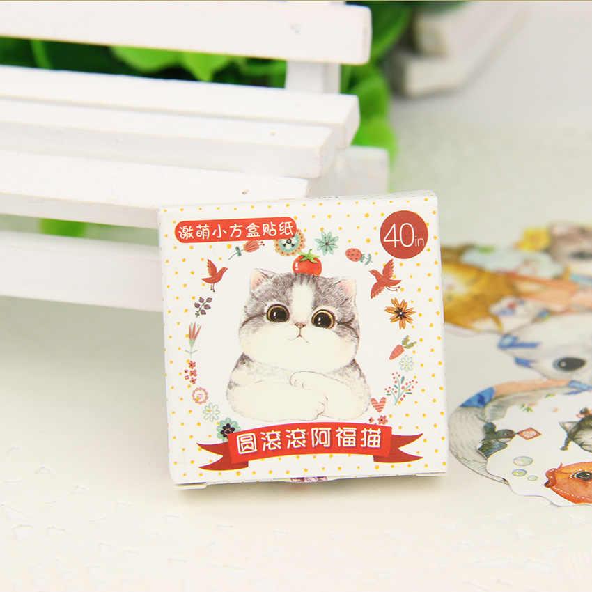 40 Pçs/lote Fat Cat Adesivos Embalar Kawaii DIY Scrapbook Pegajoso Papelaria Material Escolar Suprimentos Nova Escola
