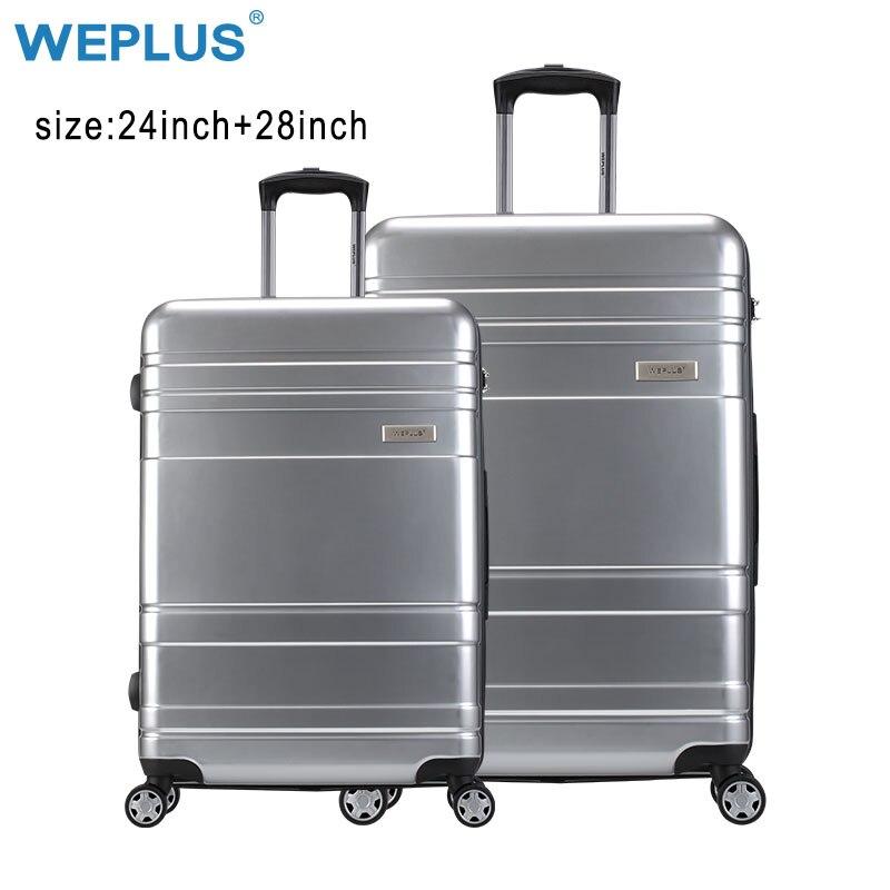 WEPLUS 2 шт./компл. Сумки на колёсиках Дорожный чемодан с колёса TSA замок таможни Spinner заказ Hardside для женщин мужчин 24 28 дюймов