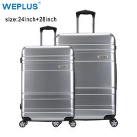 WEPLUS 2 PCS/SET Rolling Luggage Travel Suitcase with Wheels TSA Lock Customs Spinner Custom Hardside Women Men 24 28 inch