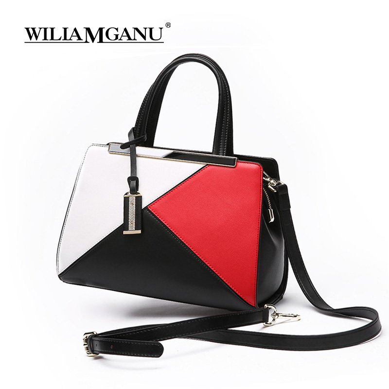 WILIAMGANU Genuine Leather Women Handbag Natural Cowhide Casual Tote Patchwork Tassel Design Shoulder Bag Female messenger Bag rdywbu brand genuine leather tote handbag 2017 women colourful flowers patchwork shoulder bag plaid messenger crossbody bag b293