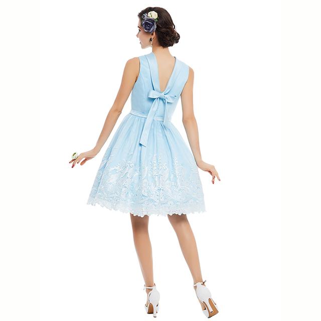 2017 Vintage Dress Blue Voile Print 1950s Women Noble A Line Party Dress Pin Up Cute Elegant Summer Sleeveless Bow Retro Dresses
