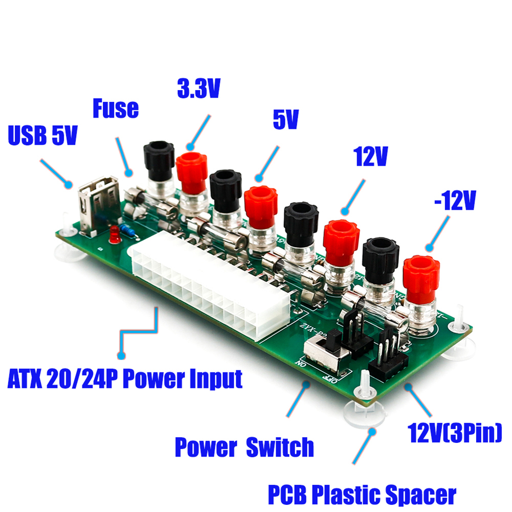 New 20/24Pins ATX Benchtop Power Board PC Computer Breakout Adapter Switch Module