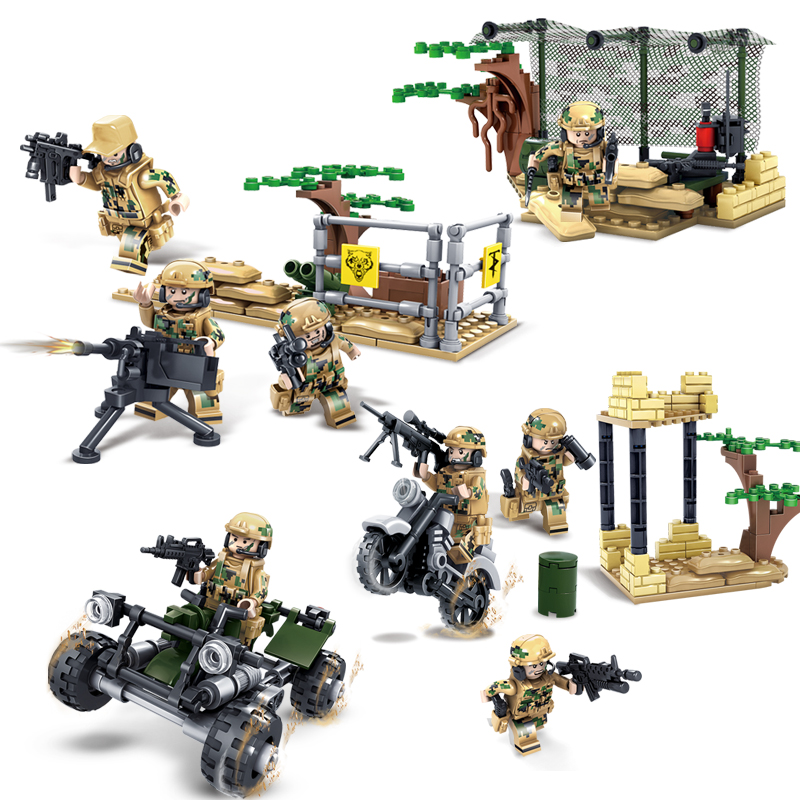 KAZI 4set/lot Compatible Legoed Military Army Figures Jungle Commando With Weapons WW2 Building Block Bricks Toys for Children kazi 608pcs pirates armada flagship building blocks brinquedos caribbean warship sets the black pearl compatible with bricks