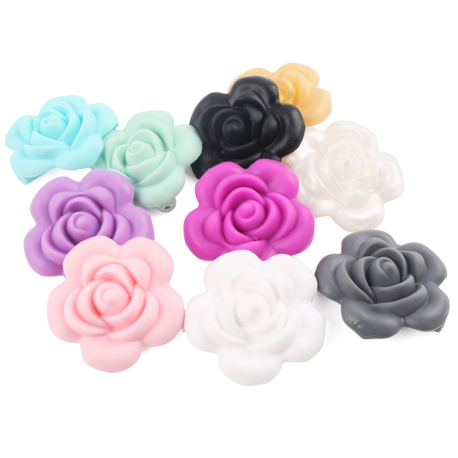 3D Flower Silicone Teething Beads Chewable Necklace DIY Baby Teether Making